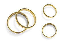 Realistic Golden Wedding Rings. Isolated Vector Illustration.