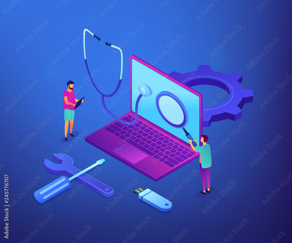 Obraz Computer technicians repair laptop with magnifier, stethoscope and tools. Computer service, laptop repair center, notebook setup service concept. Ultraviolet neon vector isometric 3D illustration. fototapeta, plakat