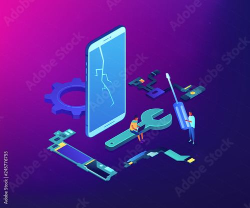 Fototapeta Technicians repair big broken smartphone with screwdriver, wrench and laptop. Smartphone repair, cell phone service, same day repair concept. Ultraviolet neon vector isometric 3D illustration. obraz