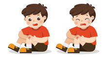 A Boy Holding Painful Wounded Leg Knee Scratch With Blood Drips. Child Broken Knee. Bleeding Knee Injury Pain. Kid Crying With Scraped Knee. Vector Illustration.