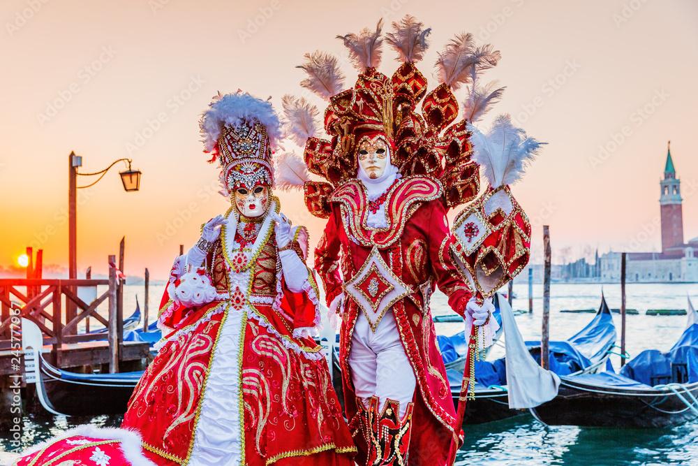 Fototapeta Venice, Italy. Carnival of Venice, beautiful masks at St. Mark's Square.