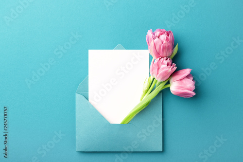 Photo  Three pink tulips in turquoise envelope on turquoise background