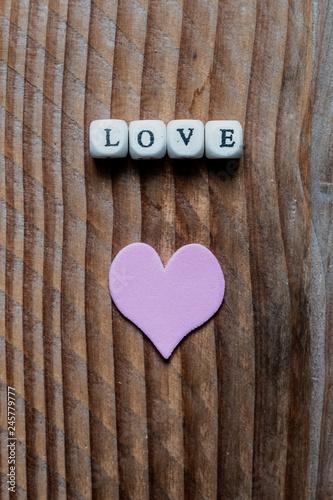 Message Damour Love Et Coeur Rose Arrière Plan Bois Buy