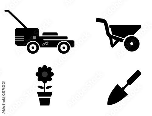 Leinwand Poster Jardinage en 4 icônes