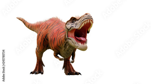 Cuadros en Lienzo Tyrannosaurus rex, T-rex dinosaur from the Jurassic period (3d dino illustration