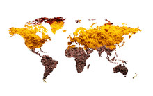 World Map Of Different Aromatic Spices On White Background. Creative Collection