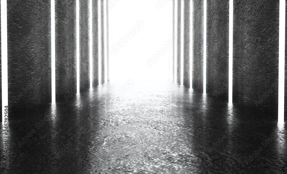 Fototapeta Monochrome dark background of empty space. Grunge concrete walls and floor, neon light, smoke. 3d illustration