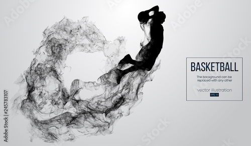 Abstract silhouette of a basketball player on white background from particles, dust, smoke, steam Canvas