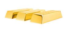 Precious Shiny Gold Bars On White Background