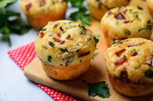 Savory Muffins With Cheese And Bacon, Freshly Baked Tasty Snack