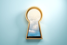 Blue Wall With Golden Keyhole