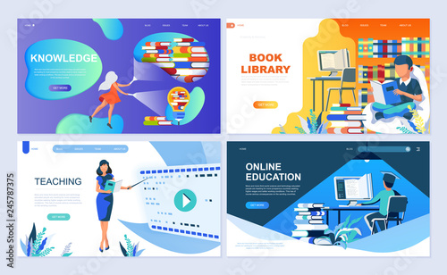 Fotografía  Set of landing page template for Education, Knowledge, Book Library, Teaching
