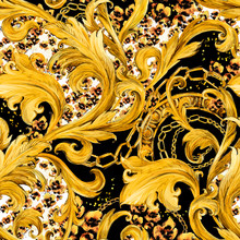 Gold Chains Seamless Pattern. Luxury Illustration. Golden Lace. Luxury Design. Leopard Print Seamless Background.