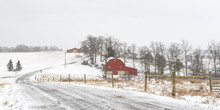 Panorma Of Winter Scene Of Rural Farm In Appalachia
