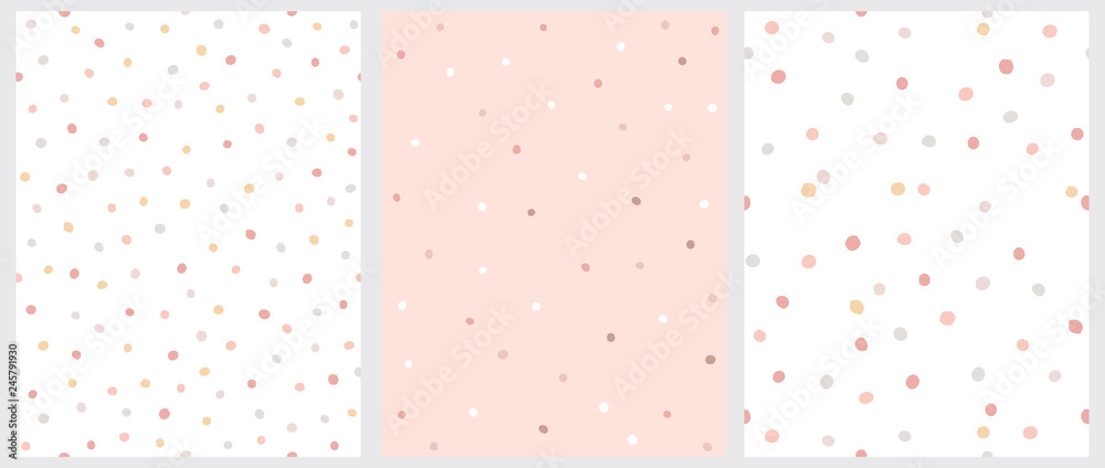 Fototapeta Simple Hand Drawn Irregular Dots Vector Patterns. Pink, Brown and Beige Dots on a White Background. Pink, White and Brown Dots on a Pink Background. Infantile Style Abstract Dotted Print.