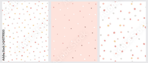 fototapeta na lodówkę Set of 3 Hand Drawn Irregular Dots Patterns. Pink, Brown and Beige Dots on a White Background. Pink, White and Brown Dots on a Pink Background. Infantile Style Abstract Art. Cute Repeatable Design.