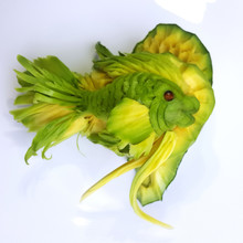 Avocado Carving - Magic Green Fish Carved Out Of A Avocado