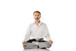 Senior bearded old man practicing yoga classic asana pose isolated on white