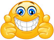Big smile emoticon with thumbs up