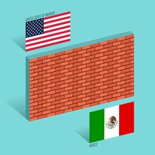 Wall Between The United States And Mexico Border Wall Concept Vector Illustration