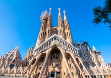 Facade Of Sagrada Familia Cathedral, Barcelona, Spain