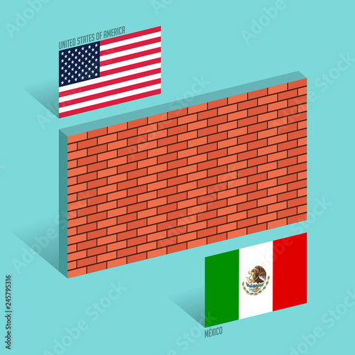 Photo  Wall between the United States and Mexico border wall concept vector illustratio