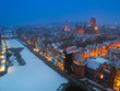 Aerial view of Gdansk at dusk in winter scenery, Poland