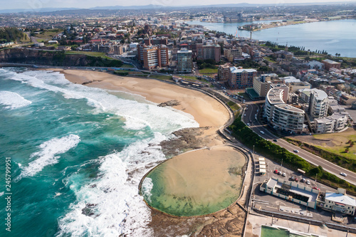 Foto op Plexiglas Oceanië Newcastle Beach and Canoe Pool aerial view - Newcastle New South Wales Australia