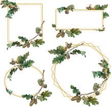 Four Oak Branches Frames Isola...