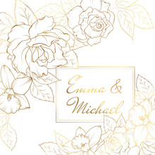 Narcissus Daffodil Rose Flowers Corner Frame Decoration. Wedding Marriage Event Invitation Card Template.