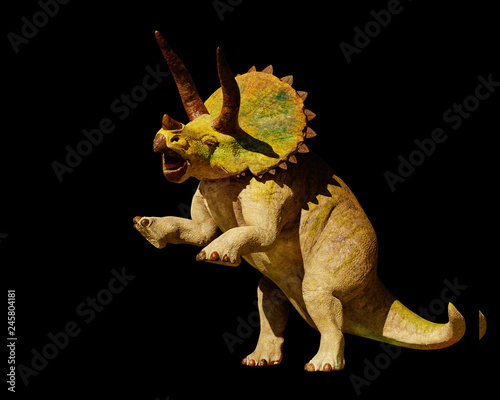 Fotografía Triceratops horridus dinosaur in action (3d rendering isolated on black backgrou