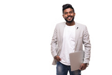 Young Handsome Indian Hipster Man Holding Laptop Isolated On White Background