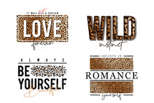 T-shirt Design With Leopard Print. Slogan T-shirt With Leopard Skin Texture. Set Of Trendy T Shirts With Graphic Print