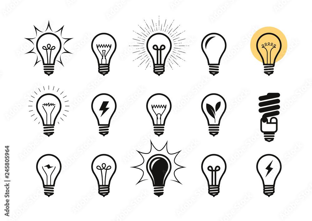 Fototapeta Lightbulb icon set. Light bulb, electricity, energy symbol or label. Vector illustration
