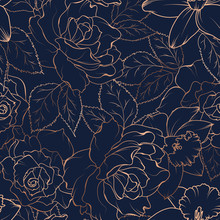 Seamless Pattern With Roses And Daffodils On Dark. Vector Illustration.