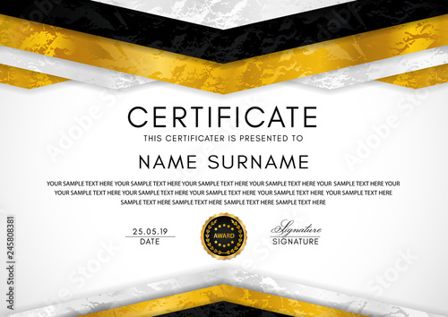 Certificate template with geometry frame and gold badge Canvas Print