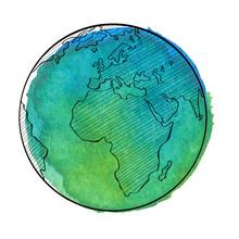 Watercolor Earth. Vector Illustration.