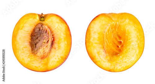 peach with stone isolated on white background Canvas-taulu