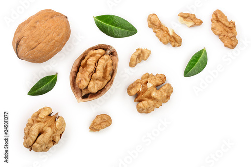 Cuadros en Lienzo Walnuts with leaf isolated on white background with copy space for your text