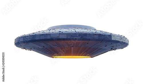 Fotografie, Obraz  UFO, alien spaceship with extraterrestrial visitors, flying saucer (3d space ren