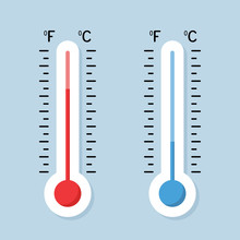 Celsius And Fahrenheit Thermometers. Thermometer Equipment Showing Hot Or Cold Weather - Stock Vector