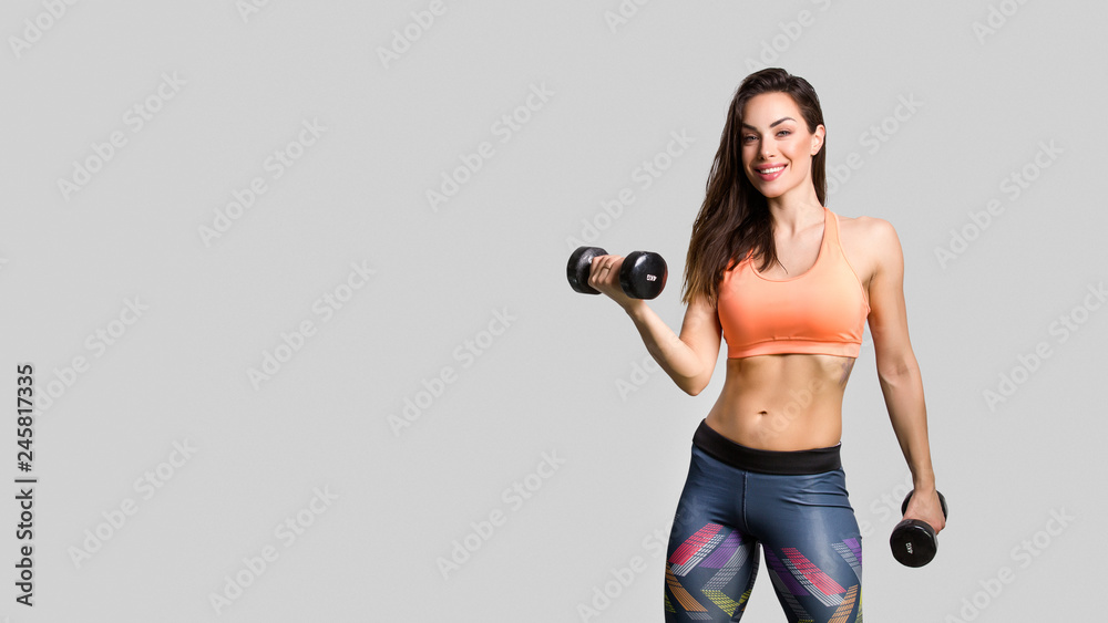 Fototapety, obrazy: Beautiful fitness girl posing