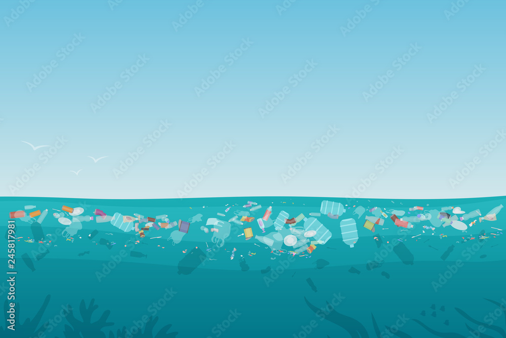 Fototapeta Plastic pollution trash on sea surface with different kinds of garbage - plastic bottles, bags, wastes floating in water. Sea ocean water pollution background concept vector illustration.