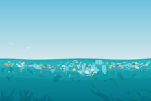 Plastic Pollution Trash On Sea...