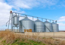 Grain Silos Along Roadside