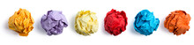 Collection Of Colorful Crumpled Paper Balls