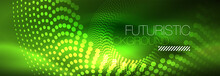 Green Neon Dotted Circles Back...