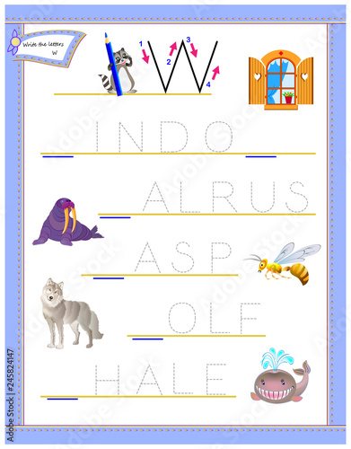 graphic about Logic Puzzle for Kids Printable named Tracing letter W for analysis English alphabet. Printable