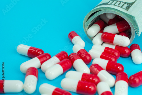 biotech and pharmaceutical companies  red white capsules