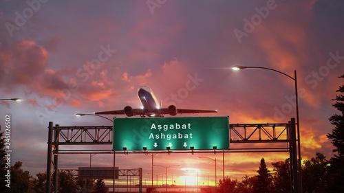 Airplane Take off Ashgabat during a wonderful sunrise Canvas Print
